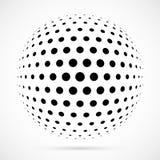 Weißer Halbtonbereich des Vektors 3D Punktierter kugelförmiger Hintergrund zeichen Stockbild