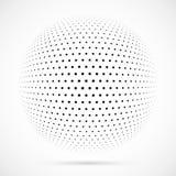 Weißer Halbtonbereich des Vektors 3D Punktierter kugelförmiger Hintergrund zeichen Stockbilder