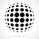 Weißer Halbtonbereich des Vektors 3D Punktierter kugelförmiger Hintergrund zeichen Lizenzfreie Stockbilder