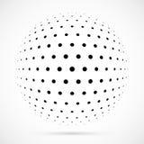 Weißer Halbtonbereich des Vektors 3D Punktierter kugelförmiger Hintergrund zeichen Stockfotografie