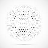Weißer Halbtonbereich des Vektors 3D Punktierter kugelförmiger Hintergrund zeichen Stockfotos