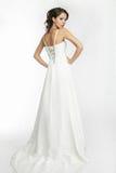 Weißer Hintergrund der glücklichen schönen Braut herauf Tuch Stockfoto