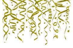 Weißer Hintergrund des Geburtstages mit Windenausläufern und Konfettis, Illustration Lamettavektorgold Lizenzfreies Stockfoto