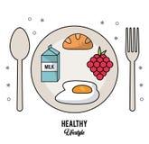 Weißer Hintergrund des gesunden Lebensstils mit dem Tischbesteck eingestellt und Teller mit Milchkasten und Spiegelei und Trauben Lizenzfreie Stockbilder
