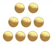 1-9 weißer Hintergrund des Münzengoldgroßen Bildes für Dischnitt 3d übertragen stock abbildung