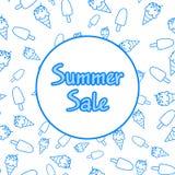 weißer Hintergrund für Sommerschlussverkauf, mit Rahmen und nahtlosem Muster der Eiscreme Schablone des Hintergrundes für Entwurf lizenzfreie abbildung
