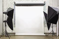 Weißer Hintergrund innerhalb des Studios Stockbild