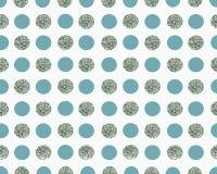 Weißer Hintergrund mit Blau- und Silberpunkten Stockbilder