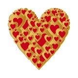 Weißer Hintergrund mit dunklem Goldherzen mit roter Herzzusammensetzung Gruß für Liebhaber und für Mutter ` s Tag lizenzfreie abbildung
