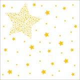 Weißer Hintergrund mit goldenen Sternen Stockfoto