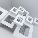 Weißer Hochbau der abstrakten Architektur Lizenzfreie Abbildung