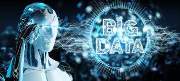 Weißer Humanoid unter Verwendung der digitalen Wiedergabe des Hologramms 3D der großen Daten vektor abbildung