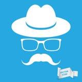 Weißer Hut mit dem Schnurrbart und den Gläsern vektor abbildung