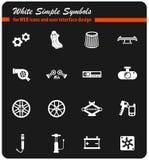 Weißer Ikonensatz des Autogeschäftes stockbilder