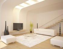 Weißer Innenraum der modernen Auslegung Lizenzfreies Stockfoto