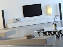 Weißer Innenraum mit Plasma Fernsehapparat Stockfotografie