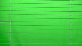 Weißer Jalousie offen und nah Grüner Bildschirm stock video footage