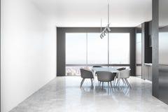 Weißer Kücheninnenraum mit Tageslicht vektor abbildung