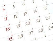 Weißer Kalender Stockfotografie