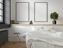 Weißer klassischer skandinavischer Dachbodenschlafzimmerinnenraum 3d übertragen Illustrationsspott oben stock abbildung