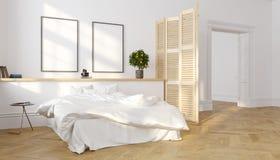 Weißer klassischer skandinavischer Dachbodenschlafzimmerinnenraum, Sonnenlicht 3d übertragen Illustrationsspott oben Lizenzfreie Abbildung