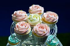 Weißer kleiner Kuchen, rosa kleiner Kuchen und blauer kleiner Kuchen auf cakestand gegen dunklen Hintergrund Stockfotos