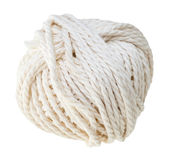 Weißer Knäuel des Baumwollseils lokalisiert Lizenzfreie Stockbilder