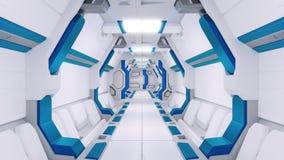 Weißer Korridor eines Raumschiffes mit blauem Dekor Sciencefictionsraumfahrzeug 3d illustartions stock abbildung