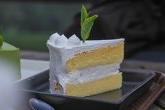 Weißer Kuchen der Kokosnuss Stockfotos