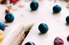 Weißer Kuchen des selektiven Makrofokus mit Beeren lizenzfreie stockbilder
