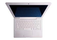 Weißer Laptop oben. Getrennt mit Ausschnittspfad. lizenzfreies stockbild