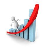 Weißer Lauf des Mannes 3d auf dem Steigen wachsen Balkendiagramm-Rotpfeil Stockfoto