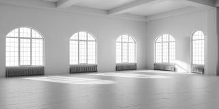 Weißer leerer Dachbodeninnenraum stock abbildung