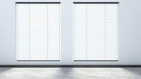 Weißer leerer Innenraum mit Vorhängen vektor abbildung