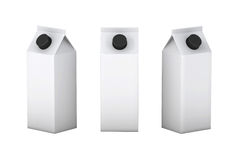 Weißer leerer Kasten mit schwarzer Deckelverpackung für Milch und Saft, Cl Lizenzfreies Stockbild