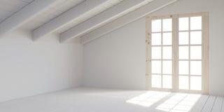 Weißer leerer Raum im Dachboden stock abbildung