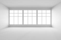 Weißer leerer Raum mit Vorderansicht der großen Fenster vektor abbildung