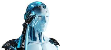 Weißer männlicher Cyborg, der seine Wiedergabe des Kopfes 3D denkt und berührt vektor abbildung
