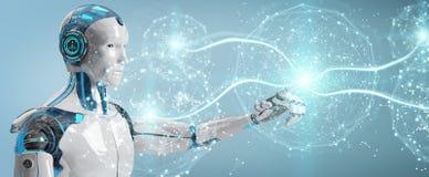 Weißer männlicher Humanoid unter Verwendung der digitalen Wiedergabe des globalen Netzwerks 3D vektor abbildung