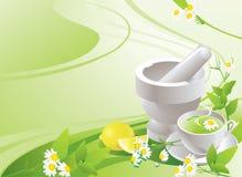 Weißer Mörser mit Stampfe und Schale mit grünem Tee stock abbildung