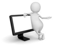 Weißer Mann 3d mit Computer PC Monitor Stockfotografie