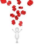 Weißer Mann 3d mit vielen fallenden roten Dollarsymbolen Stockbild