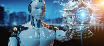 Weißer Mann Humanoid unter Verwendung der Wiedergabe der Brummenüberwachungskamera 3D vektor abbildung