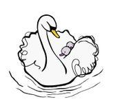 Weißer Mutterschwan nimmt Babys auf ihr zurück lizenzfreie abbildung