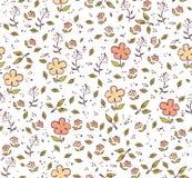 Weißer nahtloser mit Blumenhintergrund mit den gelben und rosa Blumen Vektor Abbildung