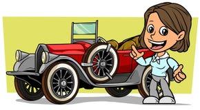 Weißer netter flacher lächelnder brunette Mädchencharakter der Karikatur mit rotem konvertierbarem Luxusauto der Retro- Weinlese  vektor abbildung
