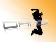 Weißer orange Hintergrund des Tanzenschattenbildes Stockfotografie