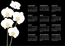 Weißer Orchideen-Kalender Stockfotografie