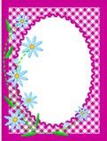 Weißer ovaler Exemplar-Platz des VektorEps10 mit den Blumen Stockbild