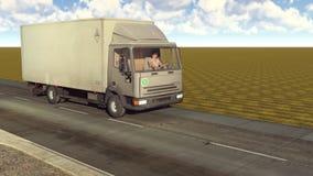 Weißer Packwagen, der auf die Wiedergabe der Straßen 3d reist Lizenzfreies Stockfoto